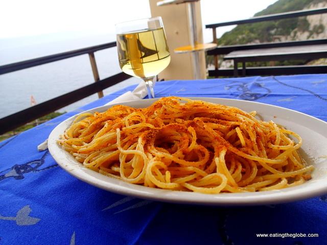 Sardinian pasta with bottarga, a cured fish roe